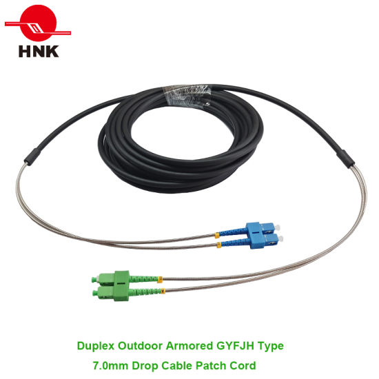 20M LC UPC to LC UPC Duplex Single Mode Black Armored PVC Fiber Patch Cord Cable