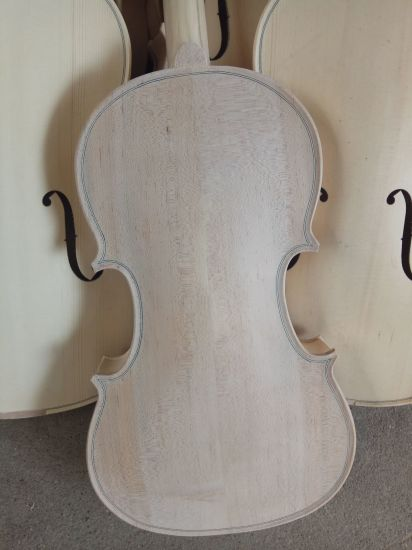 Solid Middle Grade Flame Maple Unfinished Violin pictures & photos