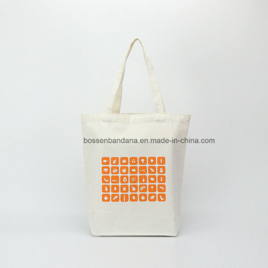 a452278e4dbb Factory OEM Custom Orange Logo Print Promotional Natural Cotton Canvas Tote  Shopper Bag with Gusset on Bottom