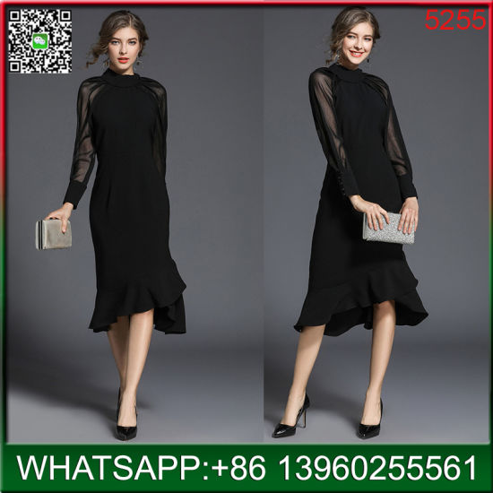 2018 Hot Sale Black Fashion Dress with Long Lace Sleeves