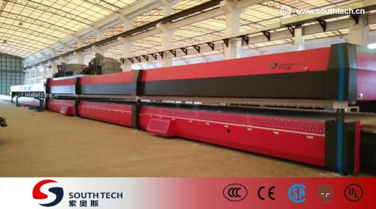 Southtech Full Automatic High Productivity Intelligent Control Double Chamber Tempering Glass Processing Machine with Compressed Air Convection System Price