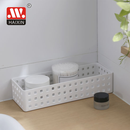 Rectangle Plastic Woven Storage Basket for Household Organization