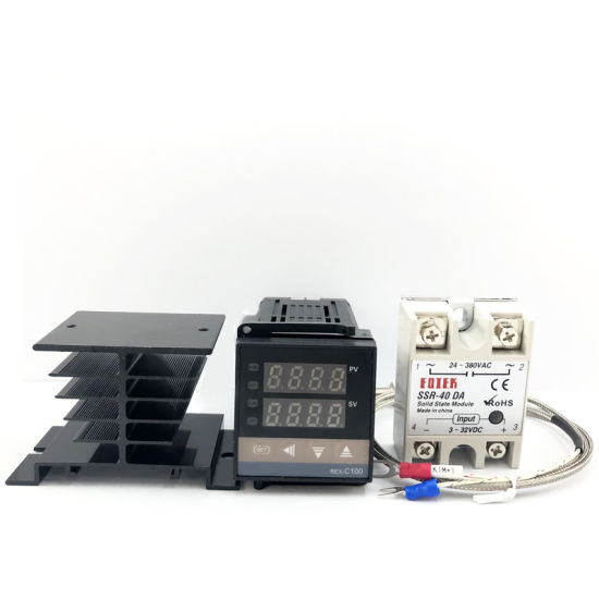 Rex-C100 Digital Pid Temperature Controller Thermostat SSR Output + Max. 40A SSR Relay + K Thermocouple Probe High Quality Rkc