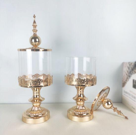 Wholesale High Quality Luxury Home Wedding Christmas Decoration Candy Jar Metal Glass Candy Jar