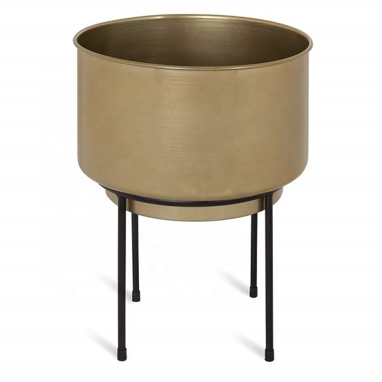 "Customized Decorative Metal Planter 10"" Diameter Gold"