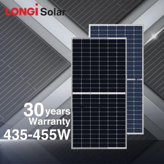 Longi Hi-Mo4 Solar Photovoltaic Module 430W 435W 440W Dual Glass Transparente Bifacial Perc Half Cut Solar Panel