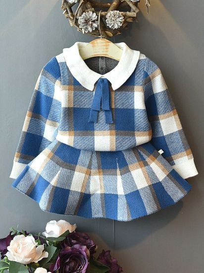 Toddler Fashion Girls Baby Clothes Collar Plaid Clothing Children Sweater