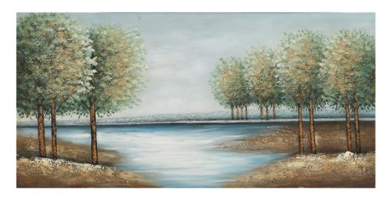 River Trees Oil Paintings. 100% Handpainted Art. Size 60X30 Inch pictures & photos