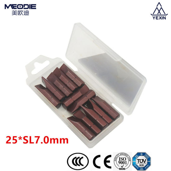 Professional Free Sample Brown Finishing 25mm Single Ended Slotted Magnetic Screwdriver Bits Insert Bit