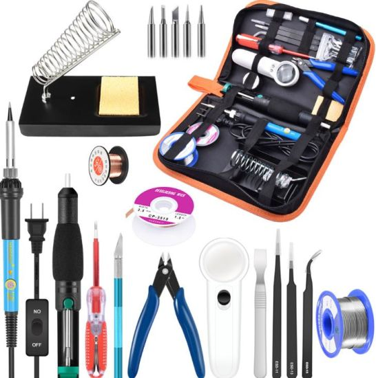 60W Adjustable Temperature Soldering Iron, Frame, Suction Pump, Magnifying Glass, Tin Wire, Tweezers, PU Package