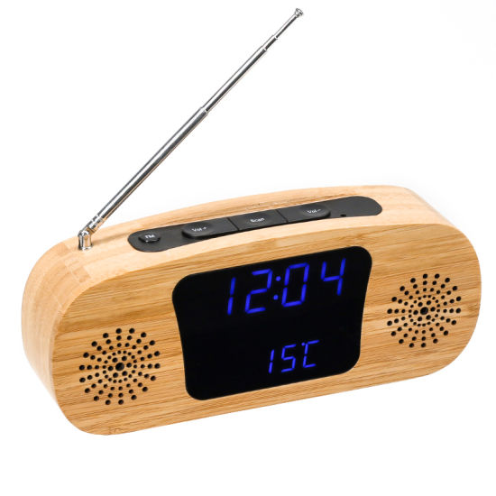 Kh-Wc015 Home Decor Portable Desktop Bamboo / Wooden FM Radio with LED Temperature Calendar Time Display