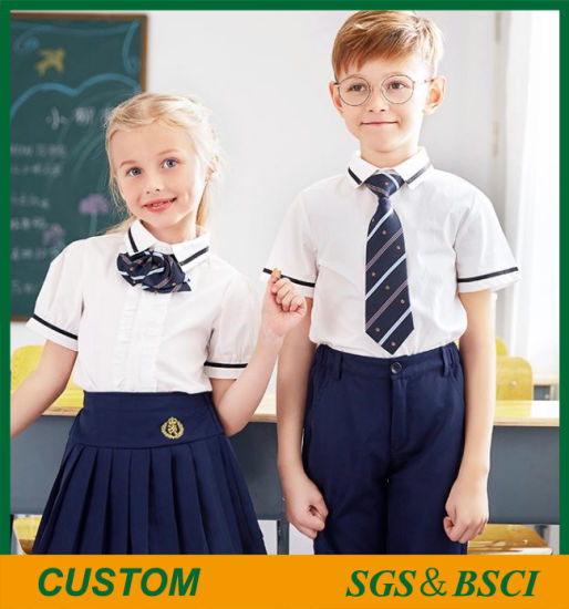 Wholesale Short Sleeve White Cotton School Uniform for Students