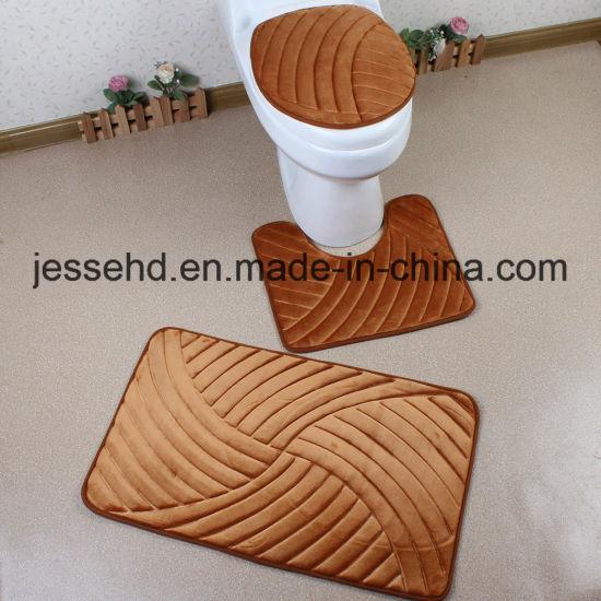 China 2017 Hot Selling Flannel Embossed Foam Sponge 3PCS Bathroom ...