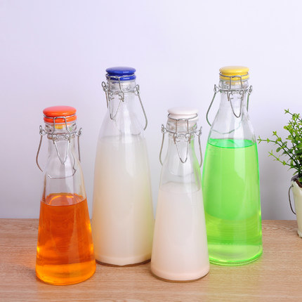 Milk Beverage Swing Top Clip Cap Glass Water Bottles for Juice pictures & photos