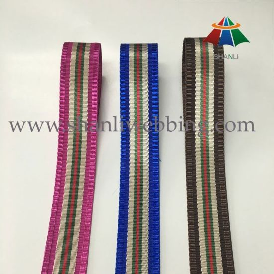 Wholesale Striped Colors Jacquard Woven Polyester Webbing Ribbon