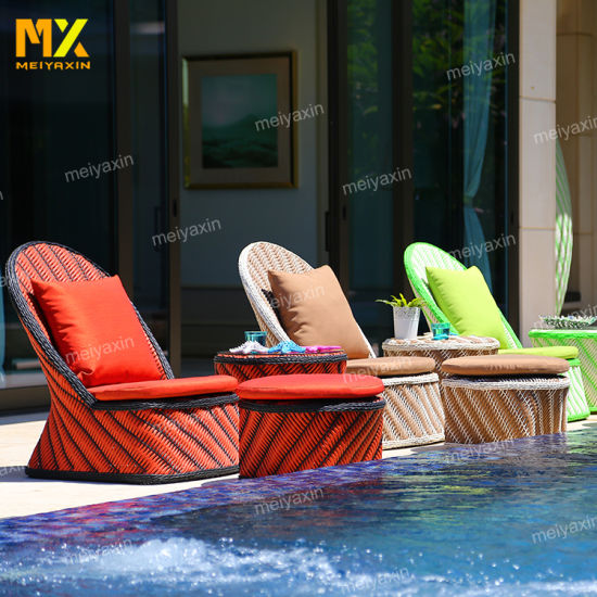 Myx Outdoor Garden Beach Rattan Chaise Lounge Day Bed Chair (accept customized)