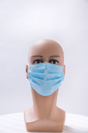 Disposable PP Nonwoven Workshop Face Mask Filter Paper Blue 3ply Face Mask