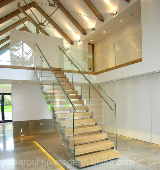 High Quality Best Price Glass Straight Staircase With Wooden Tread For Villa