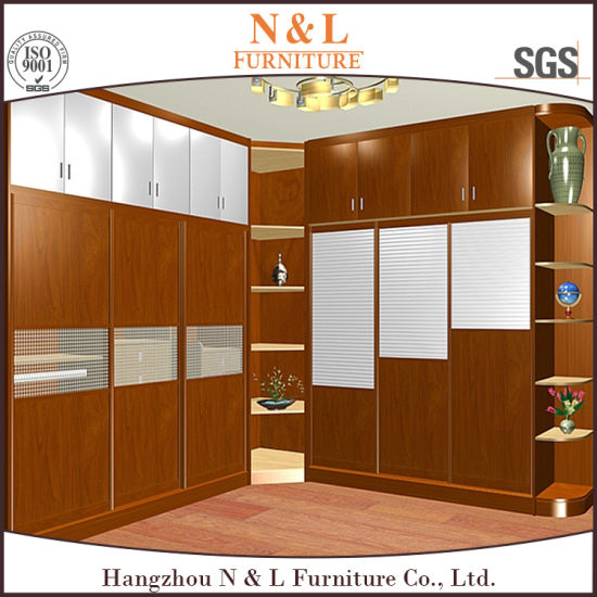 N&L Wooden Wardrobe Cabinet Closet with Sliding Mirror Wardrobe Doors pictures & photos