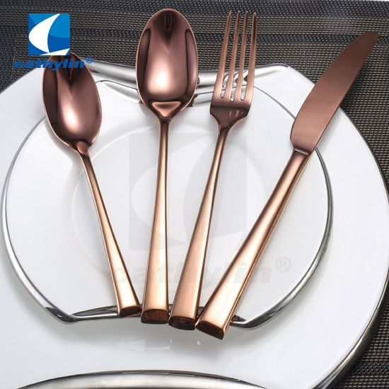 Wholesale Steak Knife Long Handle Rose Gold Cutlery Set