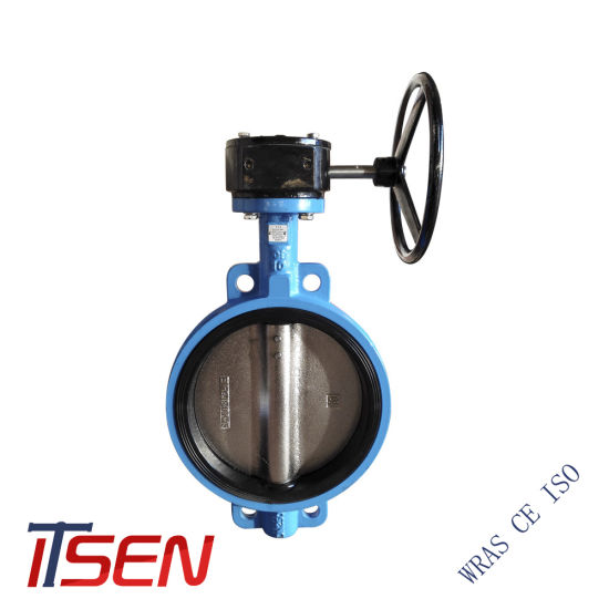 Cast Iron / Ductile Iron / Stainless Steel Wafer Type Butterfly Valve with Gear Operator