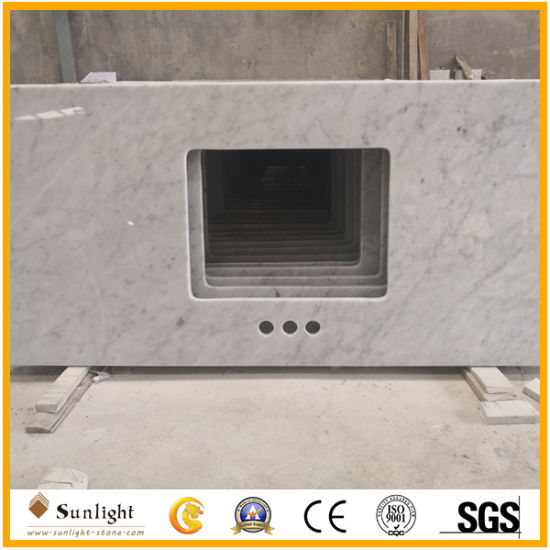 Customize Popular Polished Carrara White Marble Countertops for Kitchen, Bathroom