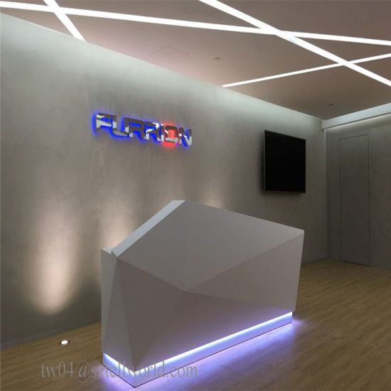 Customized Office Front Desk Acrylic Reception Counter Design