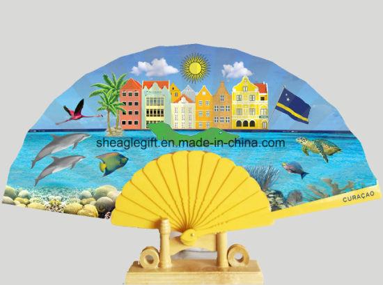Custom Personalized Spainish Cloth Plastic Handle Folding Fans