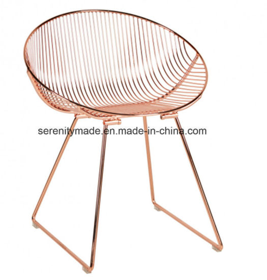 Swell Modern Outdoor Event Leisure Rose Gold Metal Wire Chair For Creativecarmelina Interior Chair Design Creativecarmelinacom