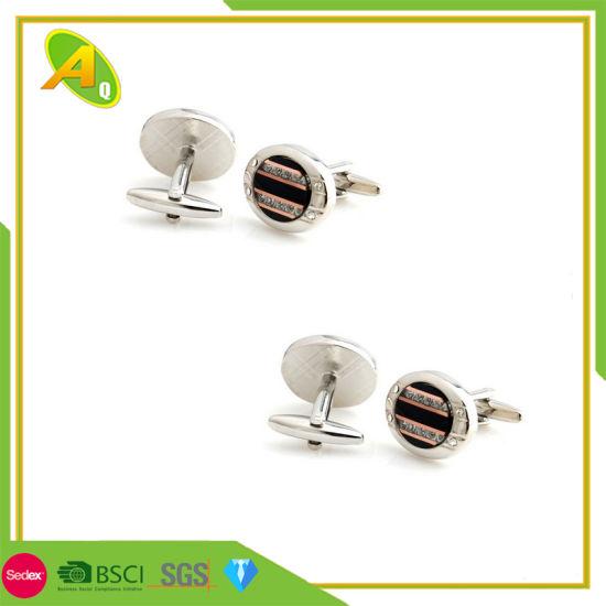 Wholesale Customized Diamond Metal Silver Cufflink (005)