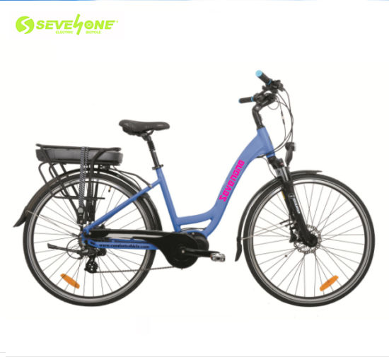 Wholesale Aluminum Frame Lady City Electric Bicycle with Middle Motor