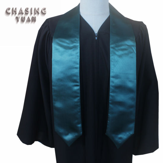 Forest Green Satin Fabric Adult Graduation Plain Honor Stole