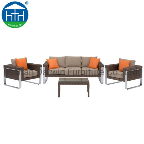 Handmade Garden Furniture Aluminum Frame Artificial Rattan Chair Coffee Table Outdoor Sofa Set