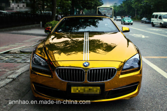 Wholesale Price 1 52X18m Mirror Chrome Gold Car Wrapping Vinyl
