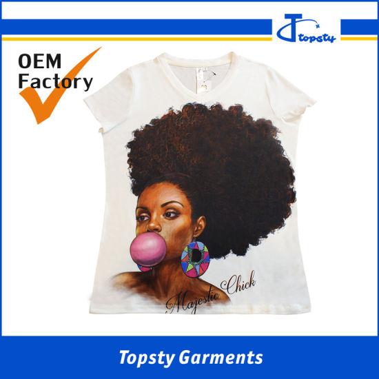Wholesale Fashion V Neck Lady's/Girl T Shirt, Cotton Short Sleeve Sublimation Women/Male T Shirts