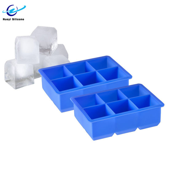 Factory-Direct 6 Cavity Large Square Silicone Ice Cube Tray