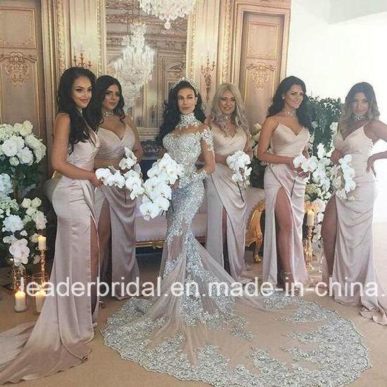 China Long Sleeves Wedding Dresses Lace Arabic Long Sleeves