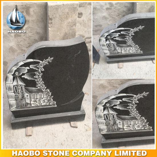 Unique Design Granite Cemetery Headstone with Line Carving