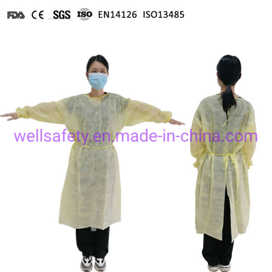 Disposable Isolation Short Sleev PP PE SMS Level Yellow Blue White AAMI Gown Level 2 3 Non-Medical Protective Clothing CE FDA ISO 510 K Approved in Stock