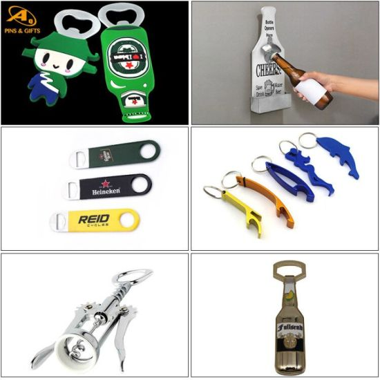Wholesale Promotional Gifts Set Custom Beer Bar Wine Accessories Wall Mount Wooden Fridge Stainless Steel Keychain Paint Can Jar Ampoule Corkscrew Bottle Opener