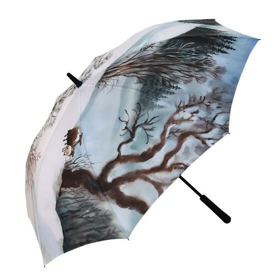 Chinese Umbrella Manufacturer Full Color Print Custom Golf Umbrella