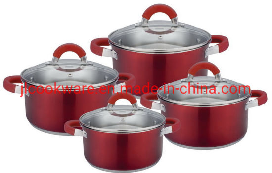 8 PCS Stainless Steel Super Capsule Bottom Colorful Cookware