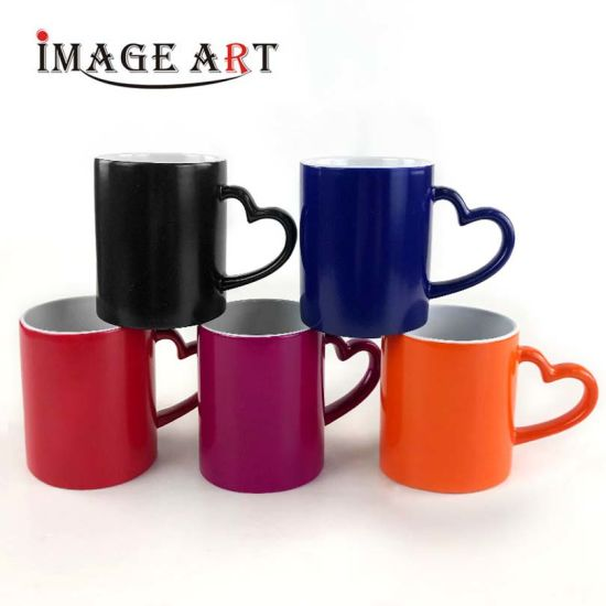 11 Oz Heart Handle Sublimation Change Color Mug Ceramic Magic Mug (Glossy)