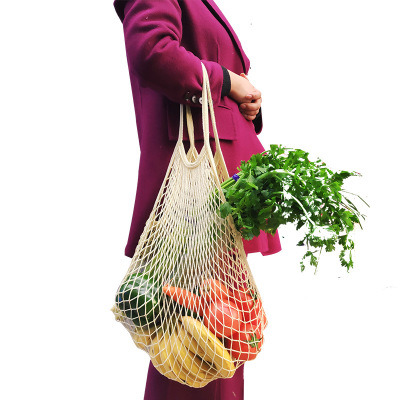 Eco Friendly Natural Organic Cotton String Mesh Net Tote Grocery Shopping Bag