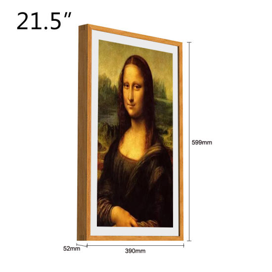 Multi-Color Optional 21.5-Inch Solid Wood Wall-Mounted High-Definition Anti-Glare LCD Screen Digital Photo Frame