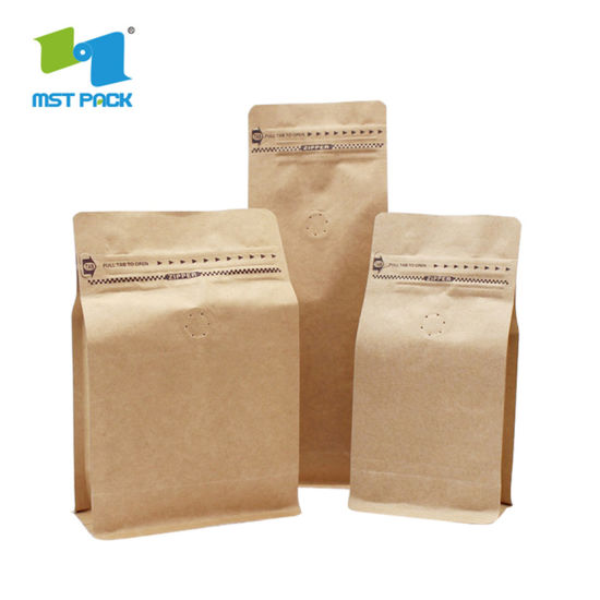 Compostable Kraft Paper Packaging Stand-up Pouch with Ziplock
