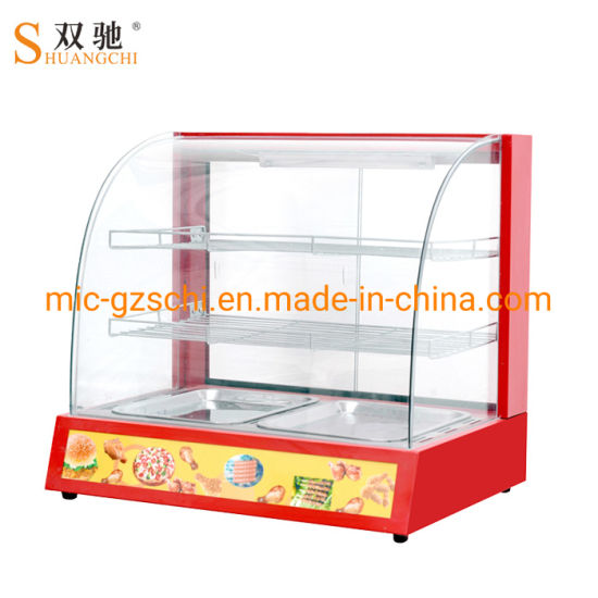 Curved Glass Display Counter Food Warmer Display Warming Showcase pictures & photos