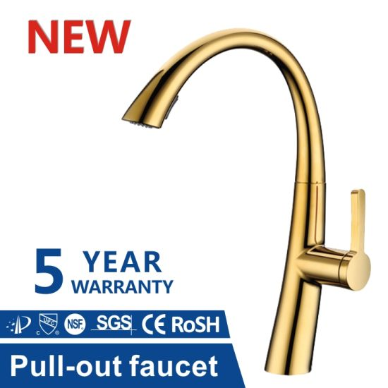 Homes High Quality Cupc SUS304 Gold Water Faucet with 360 Degree Moveable Kitchen Tap Head