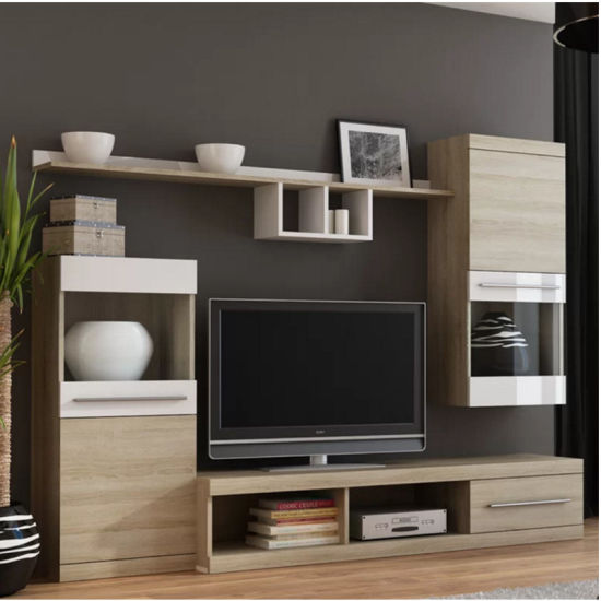 Led Mdf Living Room Furniture Tv Wall Unit Design With High