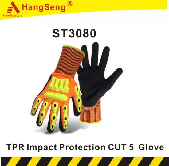 TPR Cut Vibration Impact Resistant Safety Work Glove for Mining Oil Gas Field